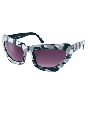 Image 1 of ASOS Monochrome Extreme Cat Eye Sunglasses