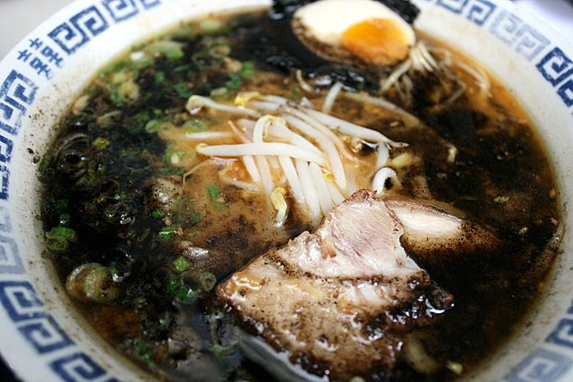 Miso pork bone broth ramen with scorched sesame and garlic oil