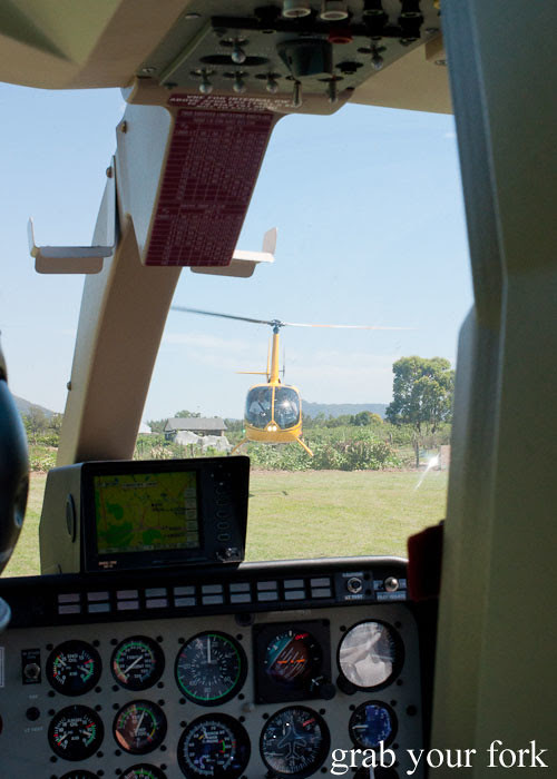helicopter hover before takeoff at Margan Wines in Broke, Hunter Valley