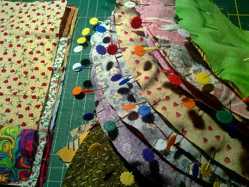 Working on the circle-quilt
