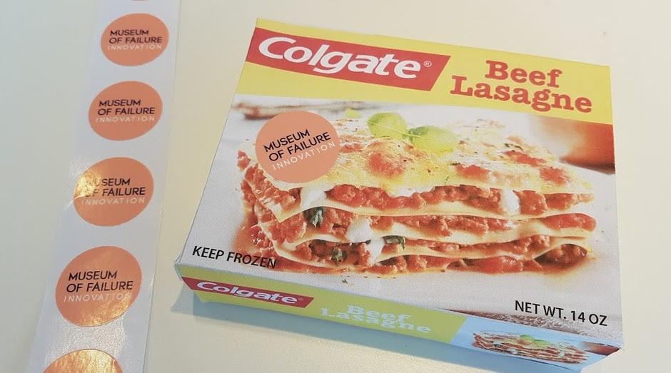 Lasanha com a marca Colgate, um dos fracassos expostos no museu sueco (Foto: Divulgação)