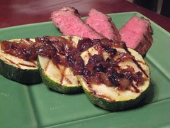 london broil and zucchini with caramelized onions