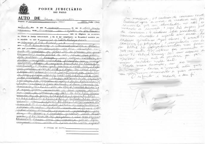 Documento lista itens penhorados de Emerson Fittipaldi (Foto: Reprodução)