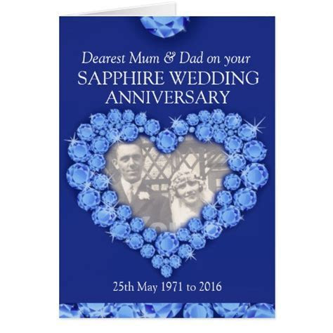 Sapphire wedding anniversary parents photo card   Zazzle
