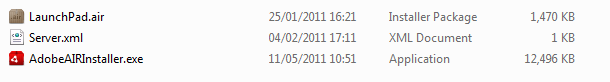 Folder listing showing LaunchPad.air Server.xml and AdobeAIRInstaller.exe files ready for deployment