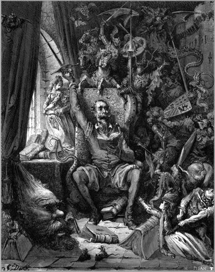 Ilustración del artista francés Gustave Doré para la obra de Miguel de Cervantes, Don Quijote de la Mancha, fiel trasunto del espíritu del Renacimiento.