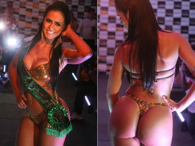 A vencedora do concurso Miss Bumbum 2013, Dai Macedo, representante do estado de Goiás, posa na final do evento no Pergamon Hotel, na região do Frei Caneca, em São Paulo, na noite de quarta-feira (13). (Foto: Gabriela Biló/Futura Press/Estadão Conteúdo)
