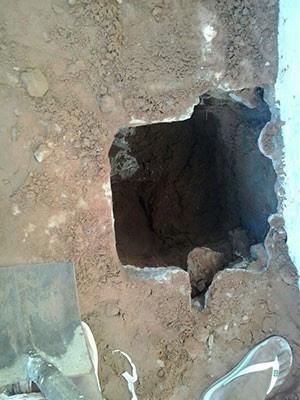 Buraco foi achado em quadra do pavilhão 4 de Alcaçuz (Foto: Divulgação/Sejuc)
