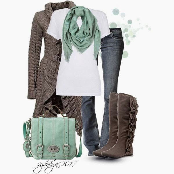 Fashionable Combine Of Brown Cardigan, Jeans, Shirt, Boots