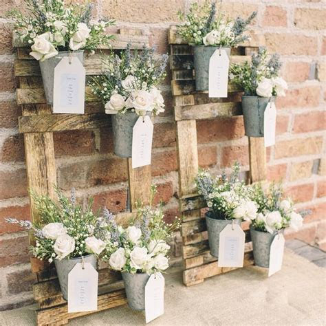 Rustic Wedding Table Plan with Flower Pots ? The Wedding