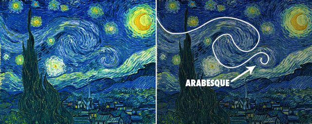 Painting by Vincent van Gogh showing an Arabesque.