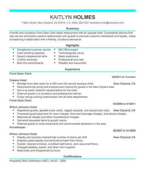 Best Front Desk Clerk Resume Example Livecareer