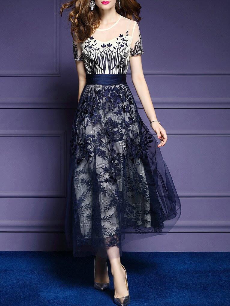 Gauze Embroidered A-Line Dress