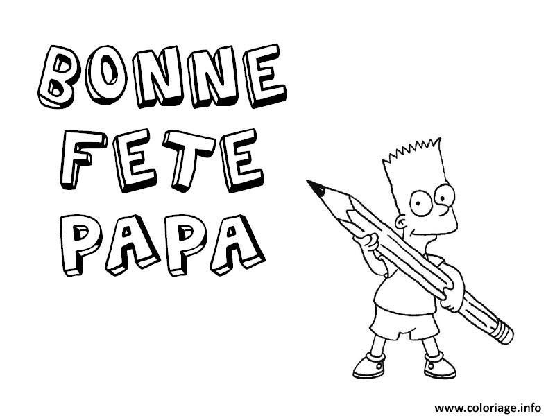 Coloriage Fete Des Peres Bart Simpsons Jecoloriecom