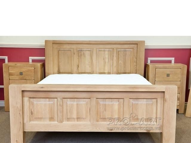 Giường đôi gỗ sồi Chunky 1.8 x 2m
