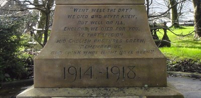 John Maxwell Edmonds War Epitaph Clayton Heights Uk Etched In