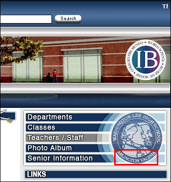 Closeup of Washington Lee High School Web Page