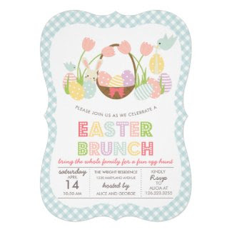 Cute Easter Brunch Egg Hunting Custom Invitation