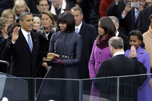 Barack Obama is sworn in as the 44th President of the United States on January 21, 2013.