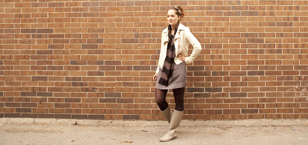 striped scarf, moto jacket, how to, style blog, c/fan, silk dress, gray, loeffler randall matilde boots, taupe rainboots, outfit blog