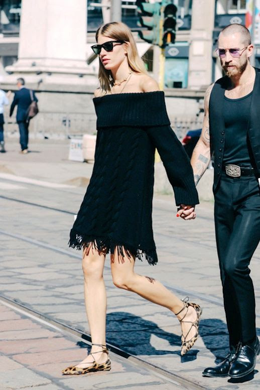 Le Fashion Blog Street Style Veronica Heilbrunner Date Look Ray Ban Sunglasses Off The Shoulder Black Dress With Fringed Hem Lace Up Leopard Print Flats Via Vogue Paris