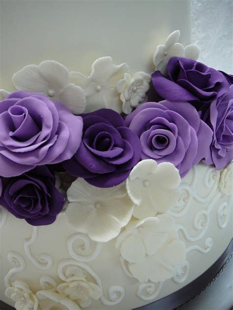 Purple Roses Wedding Cake   CakeCentral.com
