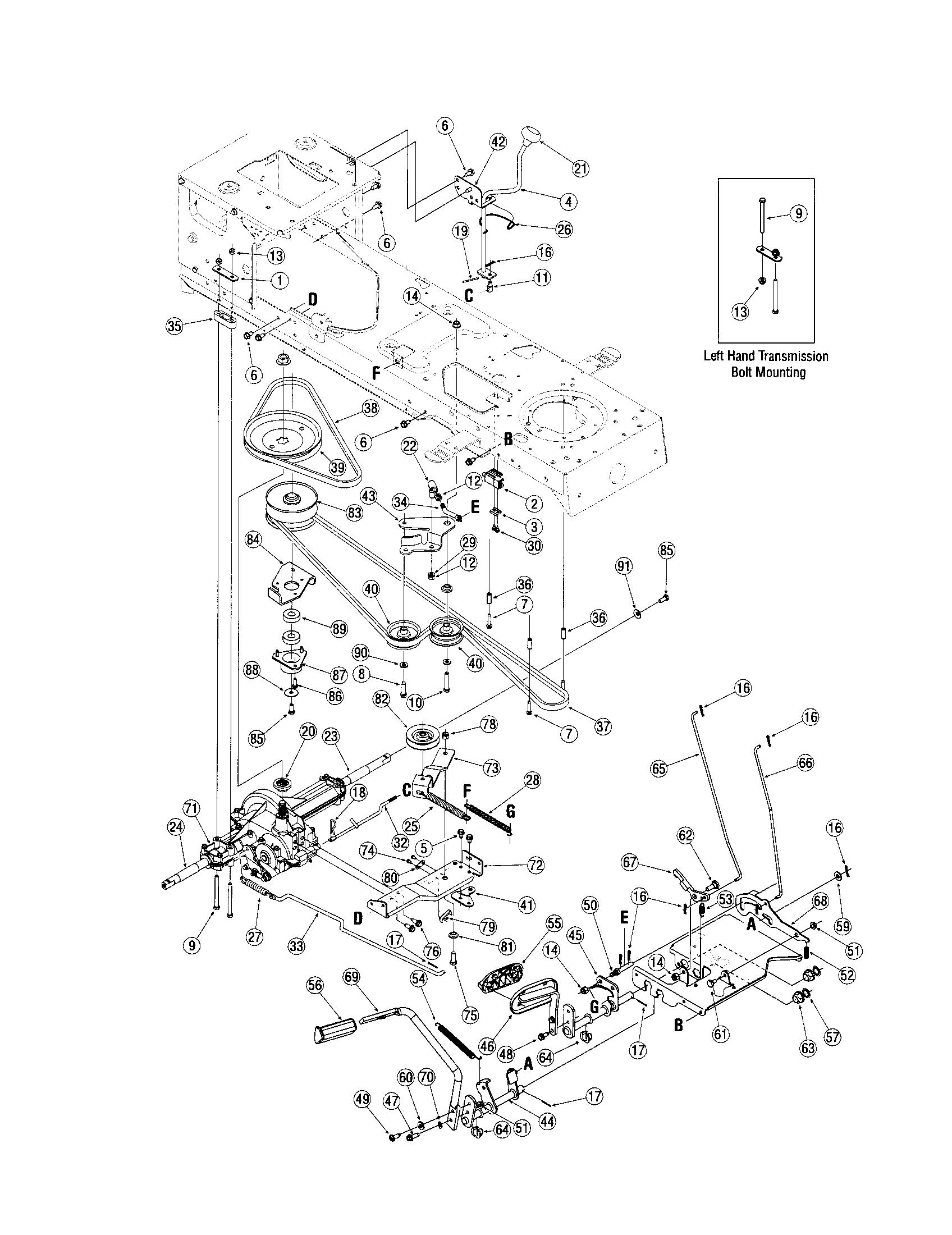 TRANSMISSION Diagram & Parts List for Model lx420 Toro ...