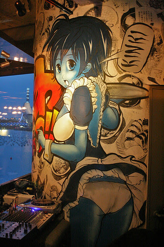It's not Kinki for nothing. Wall mural next to the DJ console, by local urban artist ANTZ