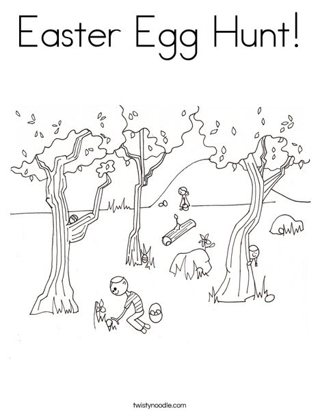 Easter Egg Hunt Coloring Page - Twisty Noodle