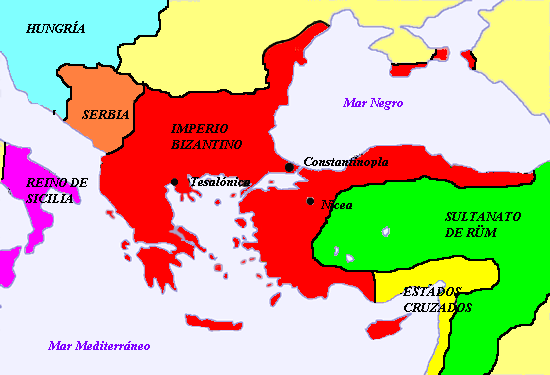 Imperio bizantino y los Estados Cruzados después de la Primera Cruzada.