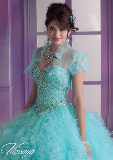 Ruffled Tulle Quinceanera Dress with Beading   Style 89002