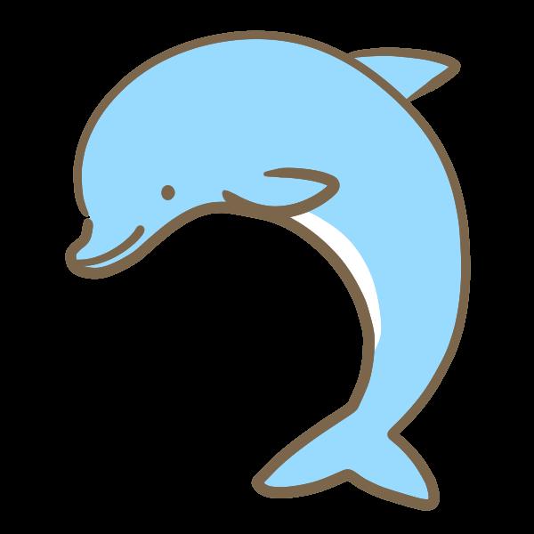 イルカ水色のイラスト かわいいフリー素材が無料のイラストレイン