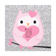 Pink Owl with Silver Sparkles and Quote Gallery Wrapped Canvas
