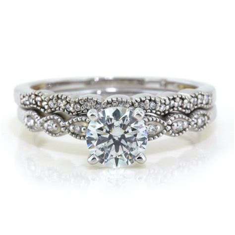 Dainty Moissanite Engagement Ring Diamond Wedding Band