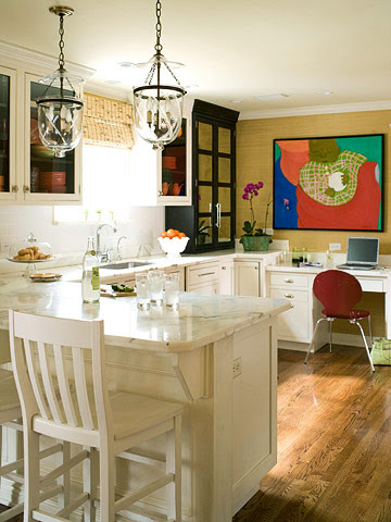 White kitchen with artwork