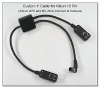 CP1098: Custom Y Cable for Nikon 10 Pin - Allows GPS and MC-30 to Connecto to Camera