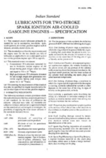 IS 14234: Lubricants for Two-stroke Spark Ignition Air