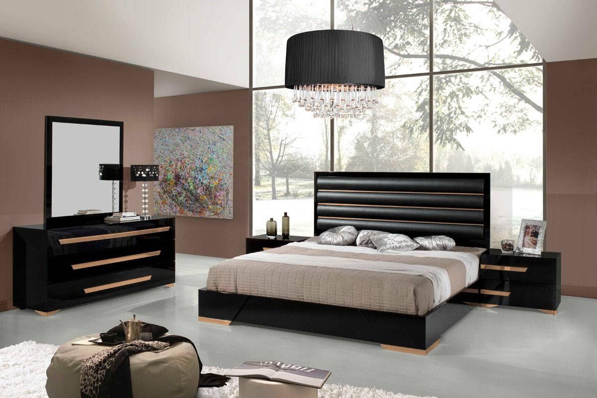 black and rose gold padded headboard master bedroom romeo
