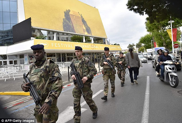Cannes has drafted in hundreds of extra security guards, soldiers and police officers to guard the city during the festival