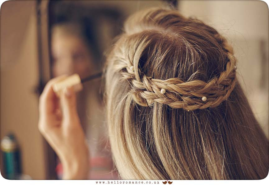 Hair braiding at Suffolk wedding - www.helloromance.co.uk