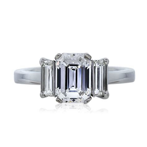 1.59 Carat Emerald Cut Three Stone Diamond Engagement Ring