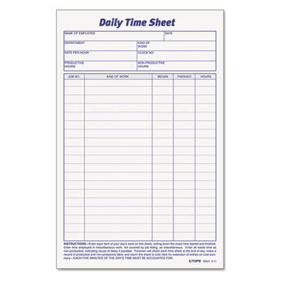 TOPS™ Daily Time and Job Sheets at Nationwide Industrial Supply, LLC