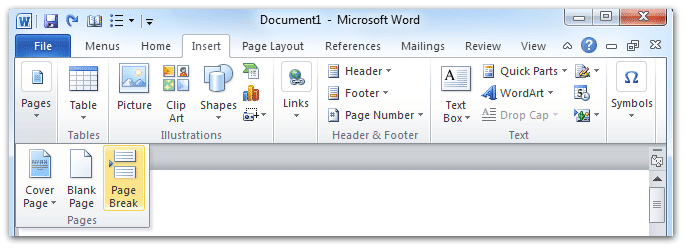 shot: Page Break button in Word 2007/2010's Insert Tab