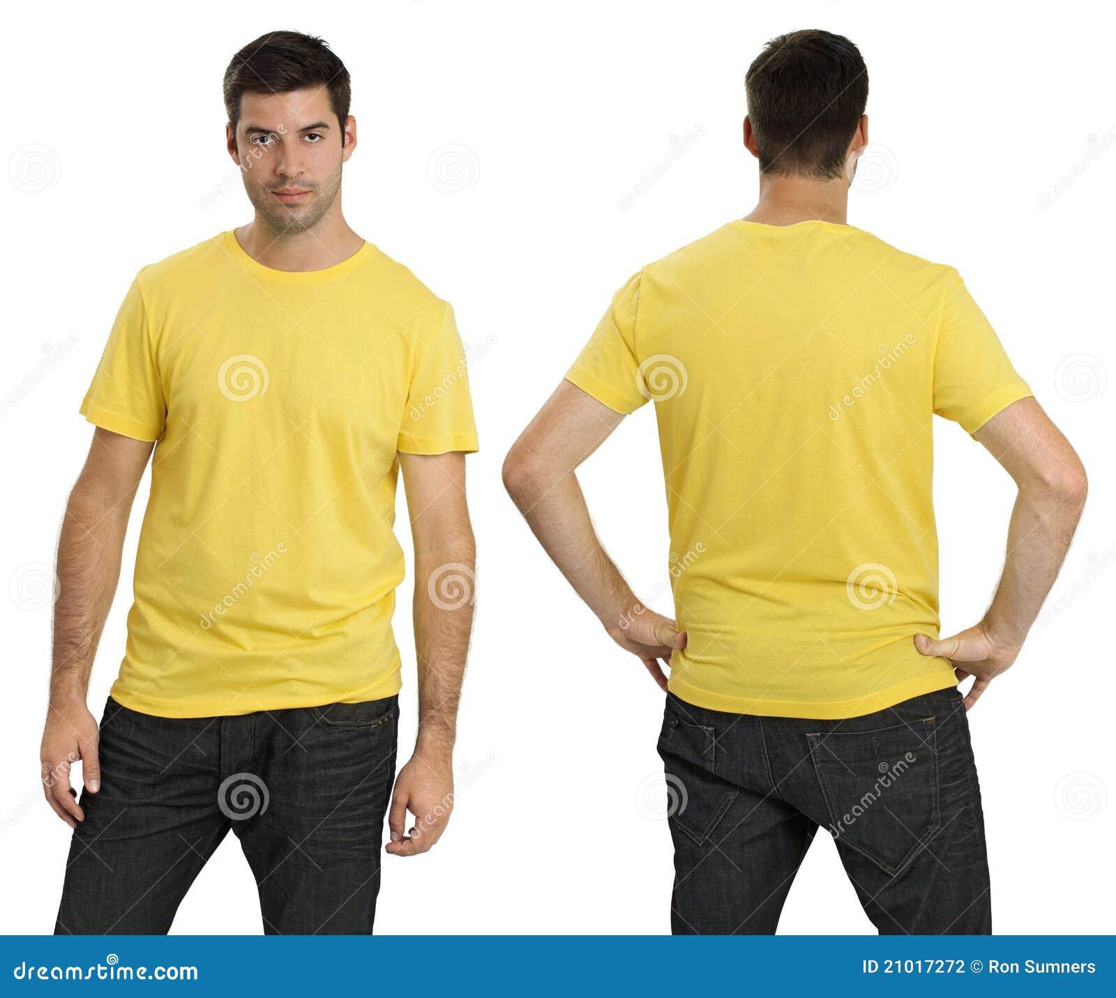 Male Wearing Blank Yellow Shirt Stock Photography - Image: 21017272
