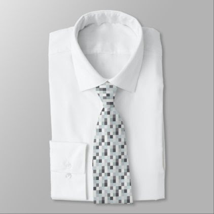 Gray and White Pixelated Pattern | Gamer Tie