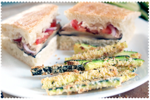Grilled Portobello Sandwich with Baked Zucchini Fries