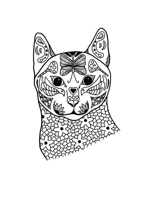 springtime cat coloring page favecraftscom