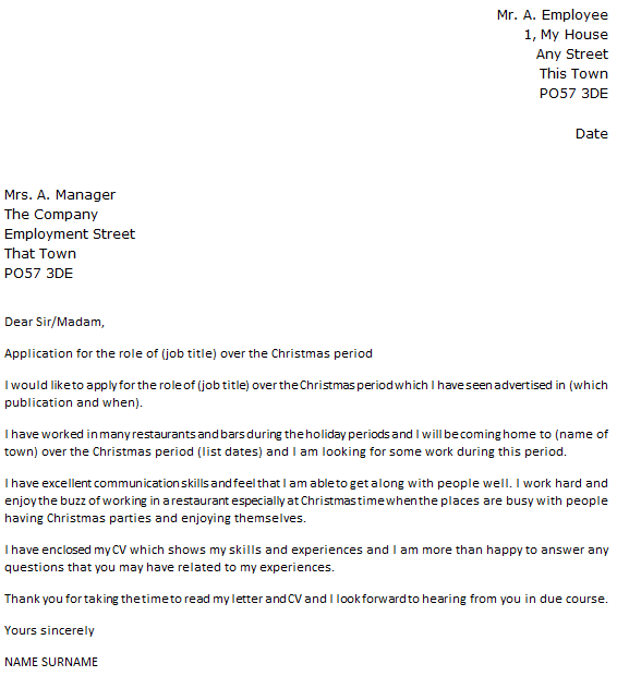 Christmas Casual Cover Letter Example Icover Org Uk
