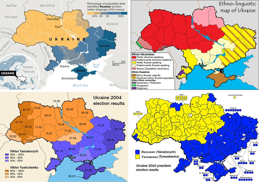 Top left: Ukraine's Russian-speakers in blue. Top right: Major ethnic and linguistic groups. Bottom left: 2004 presidential election results. Bottom right: 2010 presidential results.