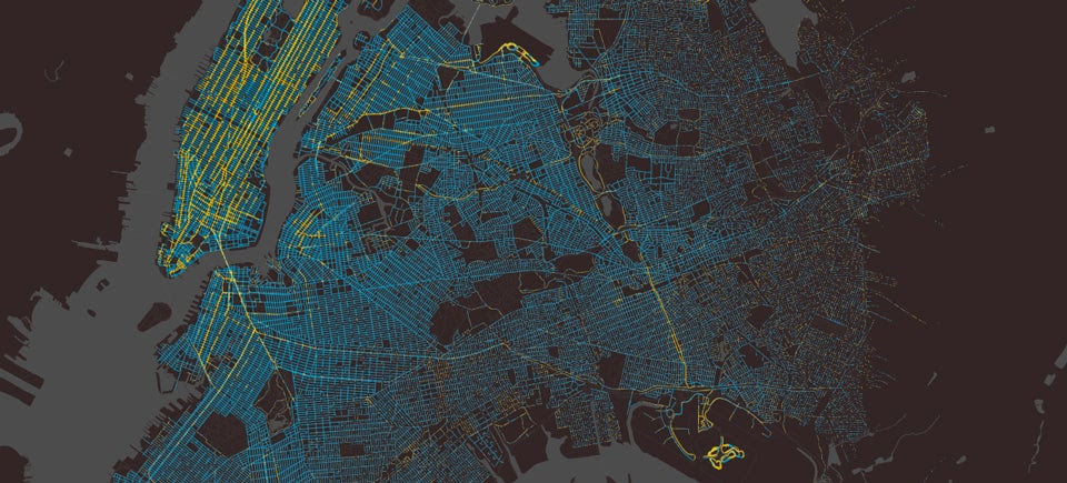 A Whole Year of Taxi Rides in New York City Mapped